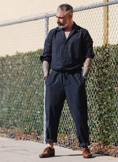 Our summer jumpsuit for the summer with a longer leg to keep down or roll up. Breathable & so comfortable you wont take it off on those sunny days. MADE IN USA Extended sizes available up Workwear Fashion, Fashion Outfits, Fashion Tips, Fashion Design, Latest Mens Fashion, Urban Fashion, Men Fashion, Men Style Tips, Beard Styles