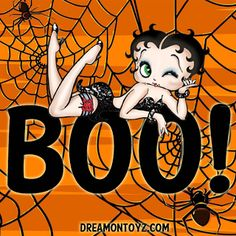 Boo! Betty Boop with spiders and spiders webs - For 1,000's of Betty Boop graphics and greetings, go to: http://bettybooppicturesarchive.blogspot.com/ #bettyboop