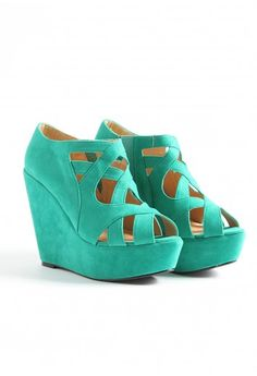 Hailey Strappy Super High Wedge in Green Turquoise Wedges, Green Wedges, High Wedges, Summer Wedges, Wedge Heels, Shoes Heels, High Heels, Shoe Boots, Stilettos