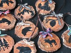 "Rustic ""lodge-y"" Christmas ornaments - perfect for our cabin (if I ever put up a tree out there, LOL!)"