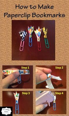 How to Make Paperclip Bookmarks -It's Okay, Mom! Paper Clips Diy, Paper Clip Art, Diy Paper, Paper Crafts, Paperclip Crafts, Paperclip Bookmarks, Ribbon Bookmarks, How To Make Bookmarks, Beaded Bookmarks
