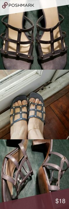 AK Anne Klein Sandals Gently used. Blue Grey Strappy Sandal with low heel. Cute and comfortable. Anne Klein Shoes Sandals