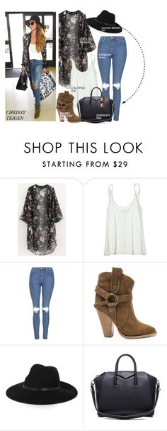 """""""Celebrity look- Chrissy Teigen"""" by monmondefou ❤ liked on Polyvore featuring Calypso St. Barth, Topshop, Isabel Marant, By Malene Birger, Givenchy, STELLA McCARTNEY, GetTheLook, CelebrityLook, Celeb and CelebrityStyle"""