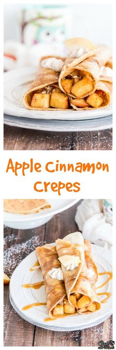 Brown butter crepes filled with Apple Cinnamon and Cinnamon Whipped Cream. Served with caramel sauce on top, these apple cinnamon crepes are like fall in every bite! #fall #breakfast #crepes