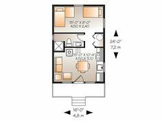 Cabana pequena quarto com 2 camas