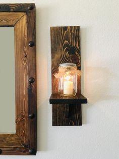 Mason Jar Candle Holders, Mason Jar Sconce, Rustic Candle Holders, Wall Candle Holders, Mason Jar Candles, Large Framed Mirrors, Rustic Wall Sconces, Wood Framed Mirror, Rustic Wall Decor