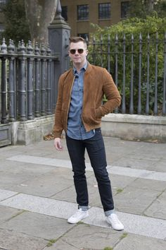 Nick Spensley Executive Fashion Director at LFW SS17  IKKS bomber jacket Zadig & Voltaire shirt AG Jeans Fred Perry shoes