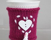 Valentines Day purple knit white heart coffee cozy.