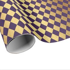 Indigo Purple Gold Geometry Chessboard Diamond Cut Wrapping Paper - metal style gift ideas unique diy personalize
