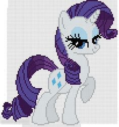 Mlp My Little Pony Rarity Cross Stitch Pattern Perler Patterns, Embroidery Patterns, Cross Stitch Patterns, Beading Patterns, My Little Pony Rarity, Cross Stitch Horse, Cross Stitch Baby, Crochet Cross, Crochet Chart