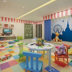 Olhem que graça esse espaço kids de um condomínio! Super colorido e interativo para as crianças.