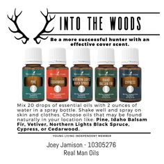 Outdoor Scents If you've got a hunter in your life, you know how obsessed they can get about cover scents. These outdoorsy essential oils might be just the thing for them to try! Even if your man isn't into hunting, these essential oils are perfect for using to make them gifts like lotion bars, lotion cream, or bath salts. They probably wouldn't mind these oils in the diffuser, either! Pick some up today at https://www.youngliving.org/realmanoils
