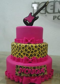 3 tier pink birthday cake for teenage girl with electric guitar topper. Pretty Cakes, Cute Cakes, Beautiful Cakes, Yummy Cakes, Amazing Cakes, Pink Birthday Cakes, Birthday Cakes For Teens, Birthday Ideas, Teen Cakes
