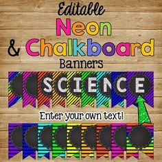This is a 72 page set of NEON and CHALKBOARD themed banner signs. This item is editable so you can customize your classroom the way you want it. Neon Classroom Decor, Teacher Classroom Decorations, Chalkboard Classroom, Chalkboard Banner, 3rd Grade Classroom, Classroom Setup, Music Classroom, Future Classroom, Classroom Organization