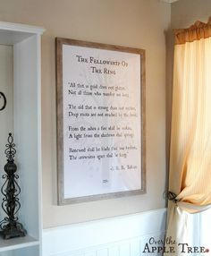 DIY wall art. Book quote poster using engineer prints by Over The Apple Tree