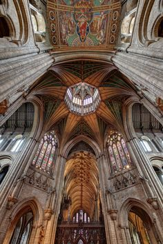 Look up - and feel yourself rise up into the void - Ely Cathedral Epicentre, England.