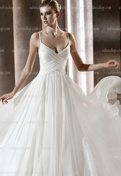 spaghetti strap a line simple elegant wedding dress court train