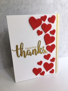 """E valentines day cards decorating ideas cas e this sketch 185 """"heartfelt"""" thanks i m in haven Valentines Day Cards Handmade, Handmade Birthday Cards, Valentines Diy, Greeting Cards Handmade, Valentine Greeting Cards, Paper Cards, Diy Cards, Tarjetas Diy, Karten Diy"""