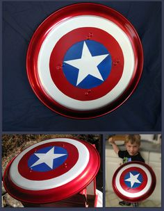 "Read, Bleed, Feed: A ""real"" Captain America shield Captain America Party, Captain America Costume, Captain America Shield, Capt America, Superhero Capes, Superhero Birthday Party, Wonder Woman Birthday, Diy Crafts For Gifts, Homemade Face Masks"