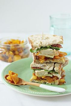 Chicken Recipe : Chicken, Bacon and Mango Chutney Sandwich. What a club sandwich is supposed to look like!