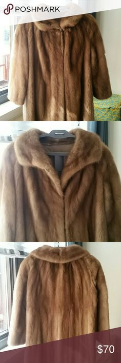 """Large Mink Coat Ranched Fur From an aunt, this vintage coat is in great shape but for a fixed spot on the upper left back. See last photo. Measurements: 48"""" bust, 43"""" overall length, 23"""" sleeves. Great for extremely cold winters. Jackets & Coats"""