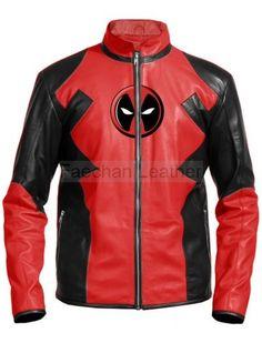 Red & Black Deadpool Leather Jacket For Men
