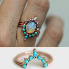 I love the opal, and the idea of a band that fits around the stone like this (though I'm not crazy about either band pictured here)