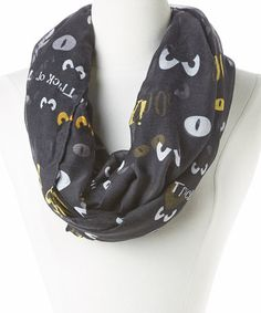 Black Spooky Eyes Infinity Scarf by David & Young #zulily #zulilyfinds