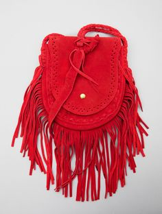 Red suede fringe bag