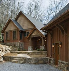 Rustic Board & Batten Siding | With wings and ells tucked into a hillside, and clad with multiple ...