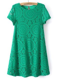 SheIn offers Green Short Sleeve Hollow Lace Loose Dress & more to fit your fashionable needs. Tight Dresses, Cheap Dresses, Short Sleeve Dresses, Lace Dresses, Short Sleeves, Moda Kids, Green Dress, Green Lace, Green Tunic