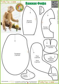 Эту обезьянку можно сшить из любого меха и флиса или тонкого фетра (мордочка, уши, ладошки, ступни). Выкройка простая, сложной для новичка может оказаться сборка головы, будьте внимательны и не спешите.