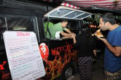 The 12 Top Food Trucks in Bangalore you must gorge at now!- Gypsy Kitchen - Fast, furious and fiery, the food at Gypsy food truck is as hot as the fiery exterior of this black truck! This is fast food at its fastest, and it tastes oh-so-delicious! Their specialties are the burgers, while everything on the menu is worth the bite, the must haves are the Ultimeat's Sandwich and the Lamb Burgers with Sunrise tomato paste and Fish fingers.