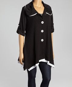 Look what I found on #zulily! Black & White Button-Up Jacket - Plus by Come N See #zulilyfinds