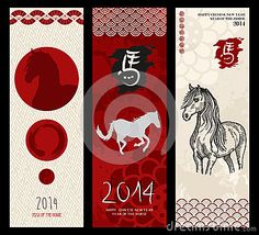 Chinese new year of the Horse web banners. EPS10 file. by Cienpies Design / Illustrations, via Dreamstime