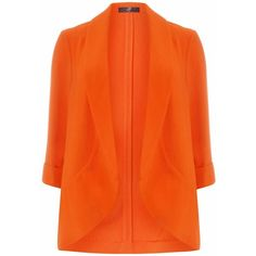 Evans Plus Size Orange Drape Crepe Jacket (40 CAD) ❤ liked on Polyvore