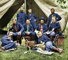 George Armstrong Custer and some of his fellow soldiers, during the American Civil War. [Colorized]