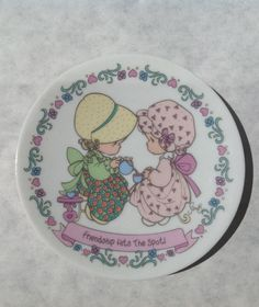 """Precious Moments """" Friendship Hits the Spot"""" Plate 4 1/4"""" 1996 by UniqueknacksShop on Etsy"""