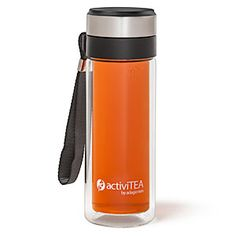 The ActiviTea is an elegant way to brew your favorite loose-leaf tea on-the-go. Put your leaves in the top and hot water in the bottle, screw the lid on tight, and flip it over. When it's done steeping, flip it back upright.