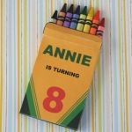 Custom crayon box invitation--could do so much with these! use as box for edible pretzel crayons too!