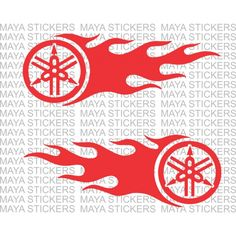 Yamaha logo with flames for FZ, FZs, Fazer, RX100, R15. Pair of 2 flipped stickers.