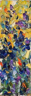 """Daily Painters Abstract Gallery: Abstract Palette Knife Flower Art Painting """"Blue Mood"""" by Colorado Impressionist Judith Babcock"""