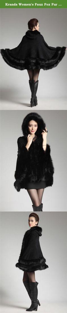 52f793481f38e Kranda Women s Faux Fox Fur Trim Hooded Cape Wool Blend Cloak Coat (Free  Size