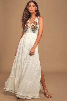White Embroidered Maxi Dress - Maxi - Vacation Dress