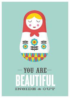 Matryoshka quote art colorful nursery decor motivational door handz
