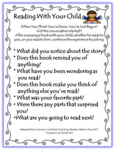 Reading--conversation starters for teacher/parent/ etc. to use with child to improve comprehension and literary analysis skills