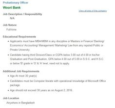 Woori Bank Probationary Officer Job Circular 2016 Woori Bank Probationary Officer Job Circular 2016 has been available by the official site of Woori Bank Limited. It is also publish in our website. Woori Bank Limited is a first cohort private sector profitable bank having joint ventures and affiliates abroad. Today Woori Bank provides huge career opportunity for fresher and experienced.  Woori Bank Ltd Probationary Officer is a great opportunity for all who recently do some job. Woori Bank…