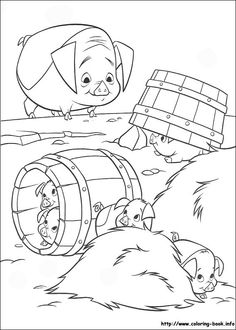 Home On The Range Piggie Playing Together Coloring Page