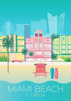 Vintage Poster MIAMI BEACH PRINT - Digitally printed in the USA on matte cardstock and suitable for framing or displaying as is. Custom printed, so please allow two weeks for delivery. Miami Beach, Party Vintage, Vintage Pink, Miami Art Deco, Kunst Poster, Beach Posters, Vintage Florida, Beach Print, Vintage Travel Posters