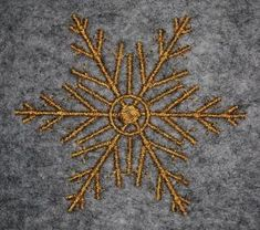 """Gold snowflake free machine embroidery design. www.embroideres.com - Ellen has downloaded (snowflake02.pes) 2.83"""" x 2.49"""""""